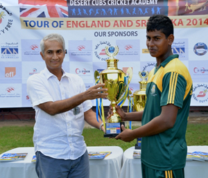 Under-15 runners-up St. Anne's Colleg receiving the trophy from Chief Guest Sidath Wettimuny